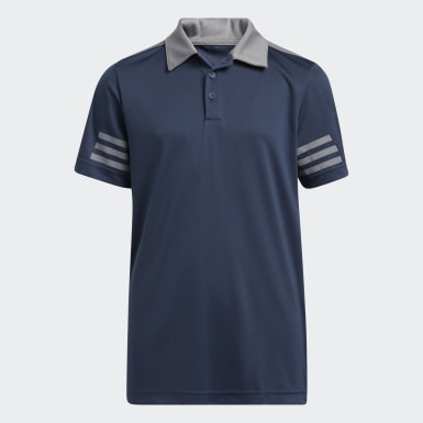 Boys Golf Blue 3-Stripes Colorblock Polo Shirt