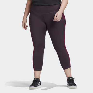 Women Yoga Purple Believe This 3-Stripes 7/8 Tights (Plus Size)