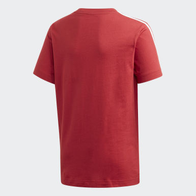 Remera Essentials 3 rayas Burgundy Niño Training