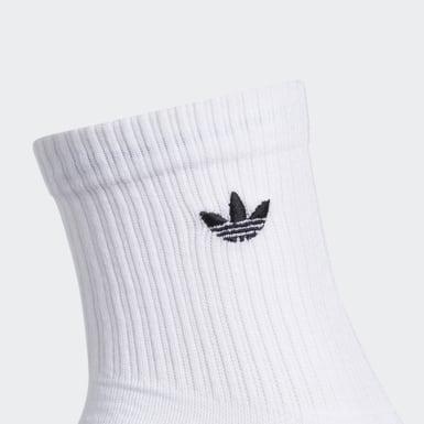 Men Originals White Trefoil Mid-Crew Socks 3 Pairs