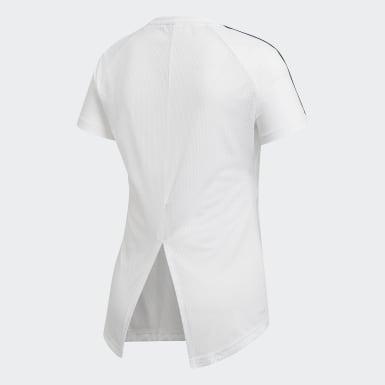 Frauen Training Design 2 Move 3-Streifen T-Shirt Weiß