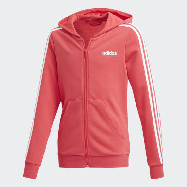 Chaqueta con capucha Essentials 3 bandas Rosa Niño Athletics