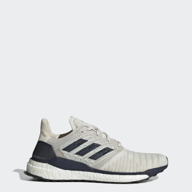 Men Running White Solar Boost Shoes