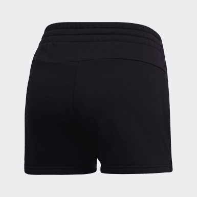 Women Athletics Black Essentials Linear Logo Shorts