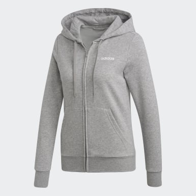 Sudadera con gorro Essentials Solid Gris Mujer Running