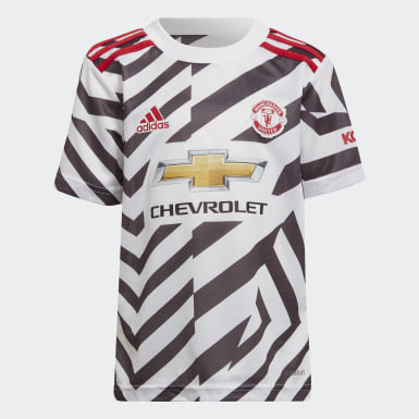 Kids Football White Manchester United 20/21 Third Mini Kit