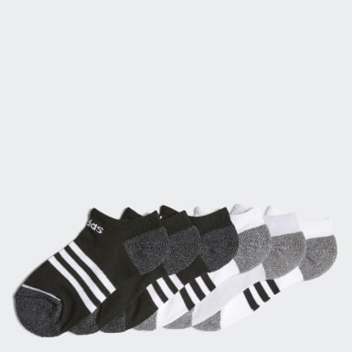 Children Training Black 3-Stripes No-Show Socks 6 Pairs