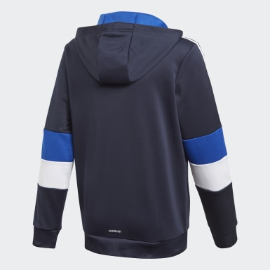 Chaqueta con capucha Must Haves AEROREADY 3 bandas Azul Niño Training