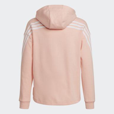 Dievčatá Tréning ružová Mikina skapucňou 3-Stripes Full-Zip