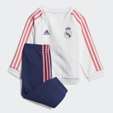 Conjunto Jogger Bebé 3 Franjas Real Madrid (UNISEX) Blanco Niño Fútbol