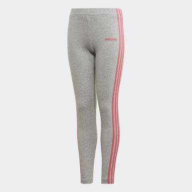 Mädchen Training Essentials 3-Streifen Tight Grau