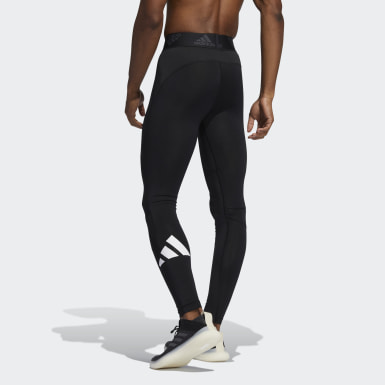 Men Running Black Techfit Long Tights