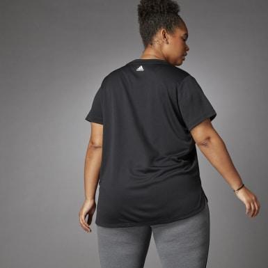 Dames Crosstraining Zwart 3 Bar Logo T-shirt (Grote Maat)