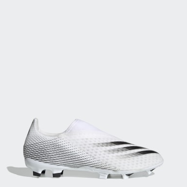 Soccer White X Ghosted.3 Laceless Firm Ground Soccer Cleats