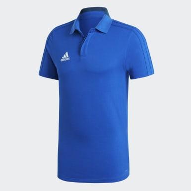 Men Football Blue Condivo 18 Cotton Polo Shirt