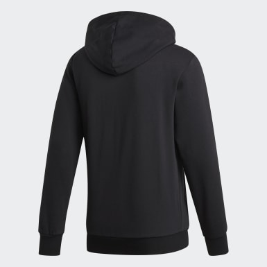 Mænd Athletics Sort Essentials 3-Stripes Fleece hættetrøje