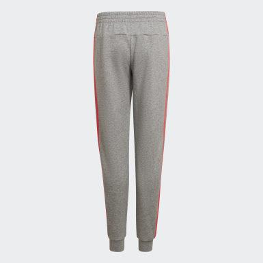 Mädchen Athletics Essentials 3-Streifen Hose Grau