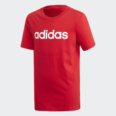 Boys Athletics Red Essentials Linear Logo Tee