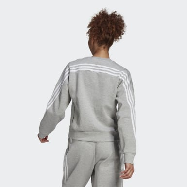 Sweat-shirt adidas Sportswear Wrapped 3-Stripes Gris Femmes Athletics