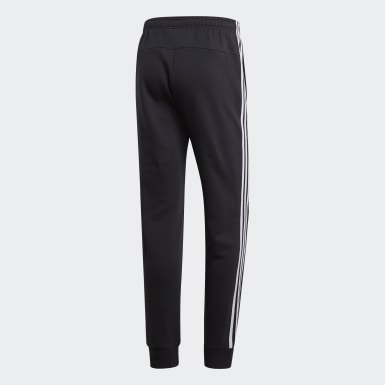 Men's Essentials Black Essentials 3-Stripes Tapered Cuffed Pants