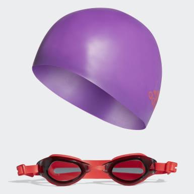 Genç Yüzme Mor Swim Bone ve Yüzücü Gözlüğü Seti