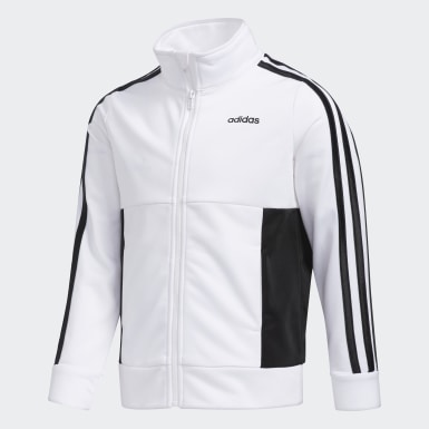Children Training White Logo Jacket Jogger Set