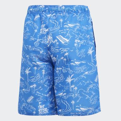 Genç Yüzme Mavi Desenli Şort Mayo
