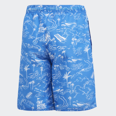 Youth Swimming Blue Graphic Swim Shorts