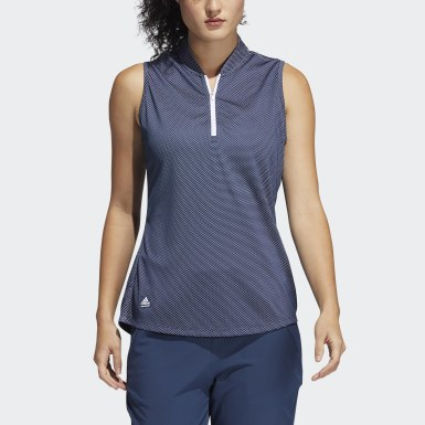 Women Golf Blue Equipment Primegreen Sleeveless Golf Polo Shirt