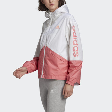 Women Sport Inspired White Essentials Oversize Logo Windbreaker