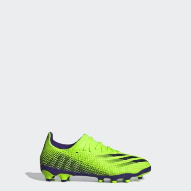 Barn Fotboll Grön X Ghosted.3 Multi-Ground Boots