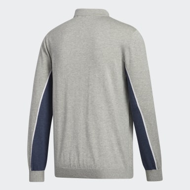 Men Golf Grey adidas Golf Quarter-Zip Sweater