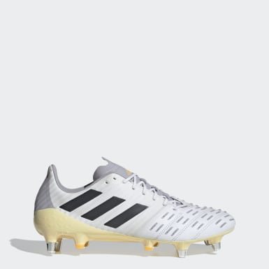 Rugby White Predator Malice Control Soft Ground Boots