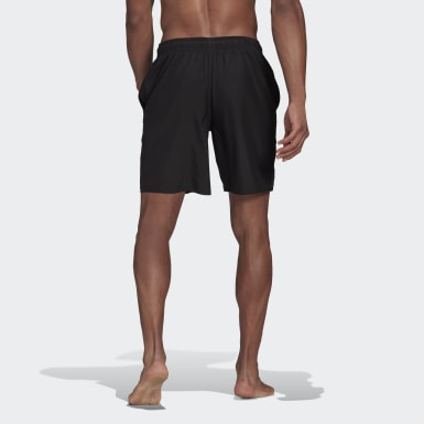 Men Swimming Black Classic-Length Logo Swim Shorts