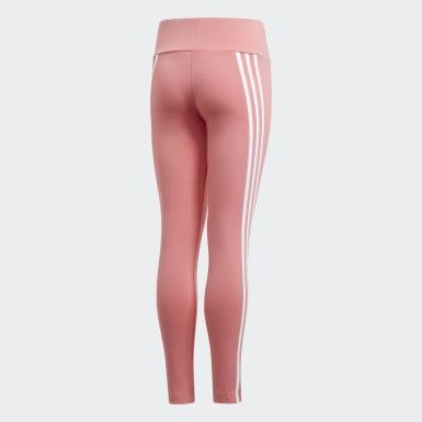 Girls Training Pink 3-Stripes Cotton Leggings