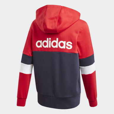 Boys Lifestyle Red Linear Colorblock Full-Zip Hoodie