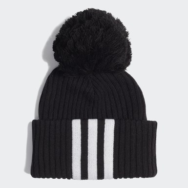 Children Training Black 3-Stripes Beanie
