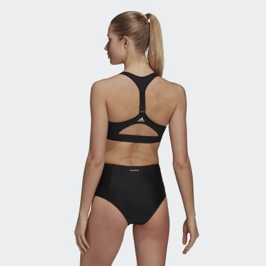 Women Swimming Black Stronger For It X-Shape Swim Top