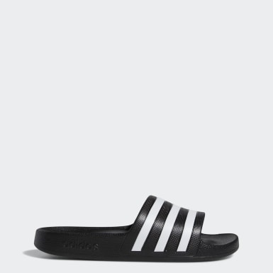 Women's Essentials Black Adilette Aqua Slides