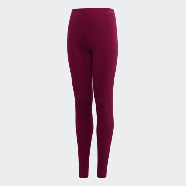 Girls Athletics Burgundy Essentials Linear Leggings