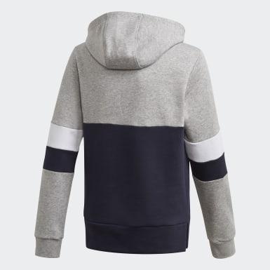 Jungen Athletics Linear Colorblock Hooded Fleece Hoodie Grau