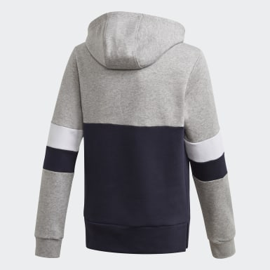 Boys Athletics Grey Linear Colorblock Hooded Fleece Sweatshirt