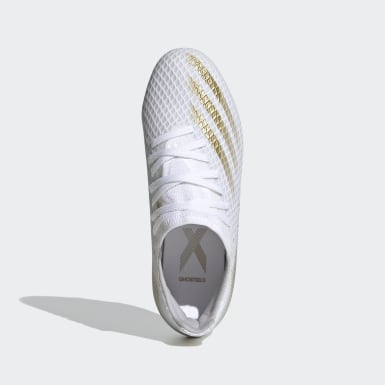 Boys Football White X Ghosted.3 Firm Ground Boots