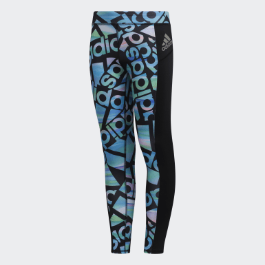 Youth Training Black AEROREADY Allover Print Tights