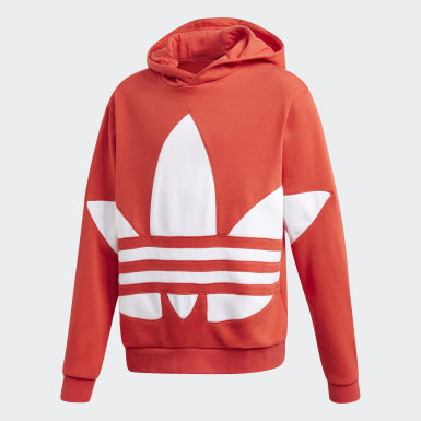 Youth 8-16 Years Originals Red Big Trefoil Hoodie