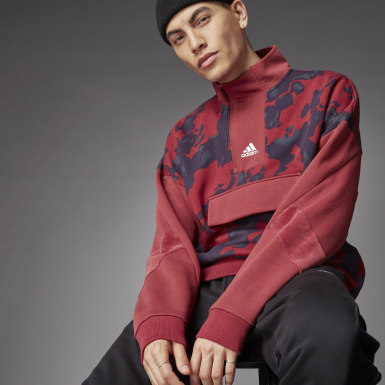 Mænd Athletics Rød 1/4 Zip Allover Print sweater