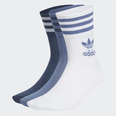 Originals blauw Mid Cut Sokken 3 Paar