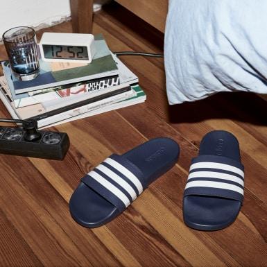 Chinelo Adilette Cloudfoam Plus Stripes Azul Homem Natação