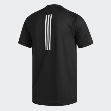 Remera FreeLift Sport Fitted 3 rayas Negro Hombre Training