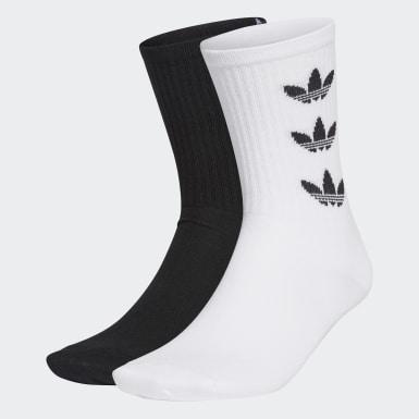 Originals สีขาว ถุงเท้าความยาวครึ่งแข้ง Trefoil Cuff (2 คู่)